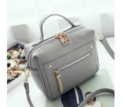 Женская вместительная сумочка серая