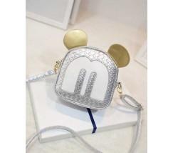 Маленькая сумочка серебристая Микки Маус с ушками