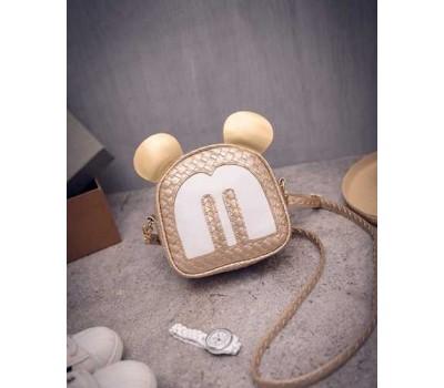 Маленькая сумочка золотистая Микки Маус с ушками