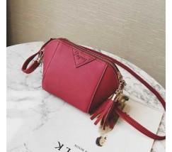 Женская сумочка маленькая бордовая с кисточками