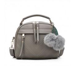Женская сумочка полукруглая серая с молниями