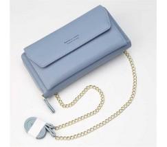 Клатч-портмоне жіночий 2в1 на ремінці блакитний