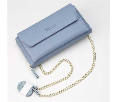 Клатч-портмоне женский 2в1 на ремешке голубой
