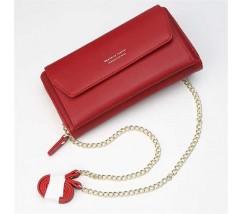 Клатч-портмоне жіночий 2в1 на ремінці червоний