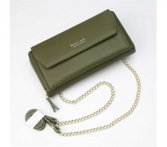 Клатч-портмоне жіночий 2в1 на ремінці зелений