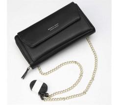 Клатч-портмоне жіночий 2в1 на ремінці чорний