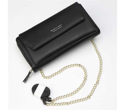 Клатч-портмоне женский 2в1 на ремешке черный