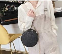 Круглая плетеная сумка черная