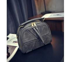 Модная женская мини сумка темно-серая