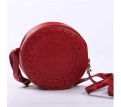 Круглая женская сумка-клатч красная