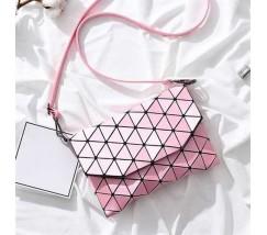 Клатч с ромбиками розовый