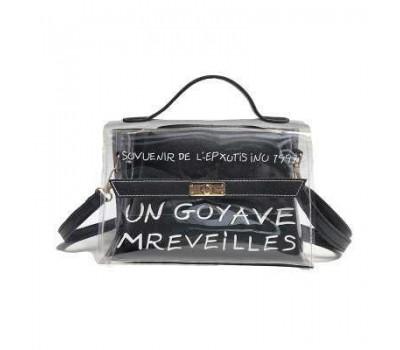 Молодежная прозрачная сумка + косметичка черная