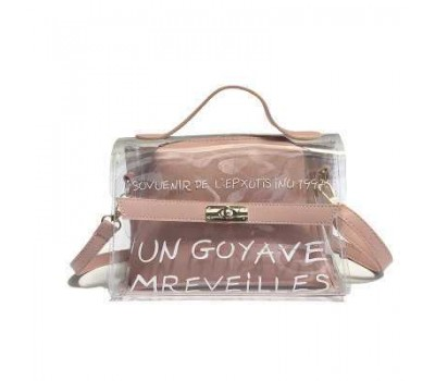 Молодежная прозрачная сумка + косметичка розовая