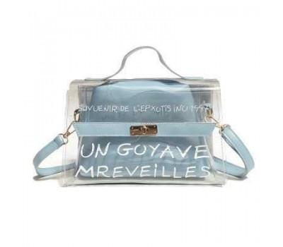 Молодежная прозрачная сумка + косметичка голубая