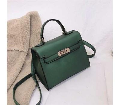 Небольшая женская сумочка с перламутровым отливом зеленая
