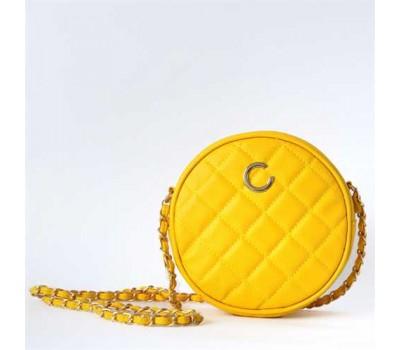 Желтая круглая сумочка