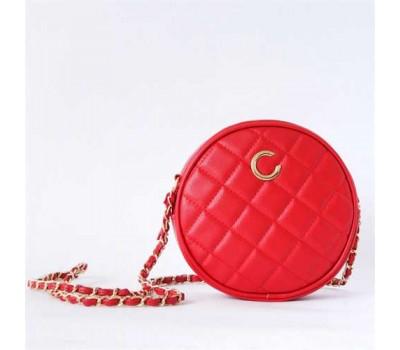 Красная круглая сумочка