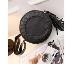 Круглая женская сумка-клатч черная