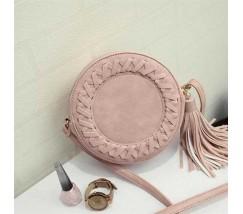 Круглая женская сумка-клатч розовая