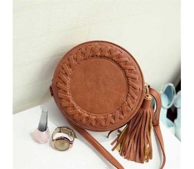 Круглая женская сумка-клатч коричневая