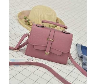 Модная маленькая женская сумочка темно-розовая