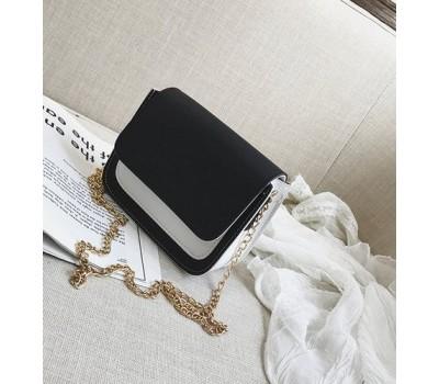 Двухцветная сумка на цепочке черная