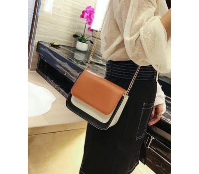 Двухцветная сумка на цепочке коричневая