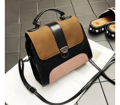 Маленькая сумка с замшевыми вставками коричневая