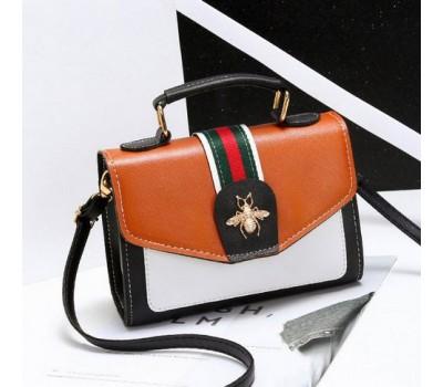 Модная женская сумка с застежкой шмеля коричневая