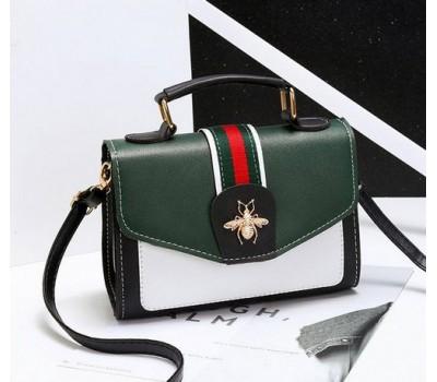 Модная женская сумка с застежкой шмеля зеленая