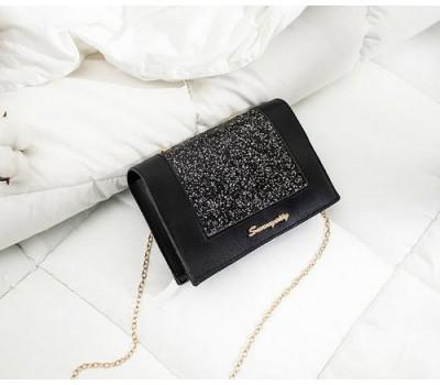 Модная сумочка клатч на цепочке черная с блестками