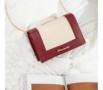 Модная сумочка клатч на цепочке красно-белая