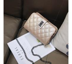 Женская сумка-клатч бежево-золотистая