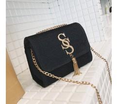 Блестящая женская сумка черная