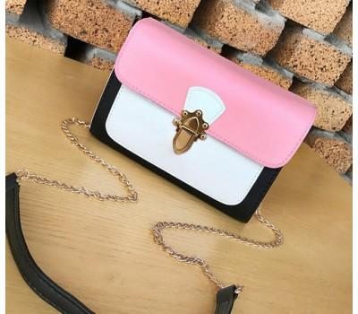 Красивая женская сумка бело-розовая