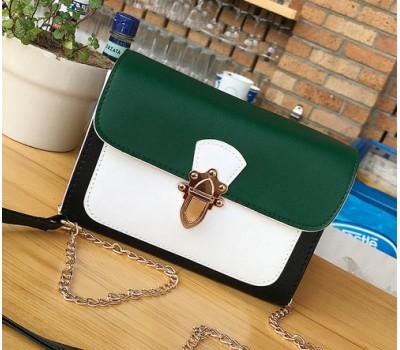 Красивая женская сумка бело-зеленая