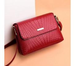 Женская сумка в стиле плетения красная