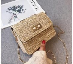 Женская соломенная сумочка клатч бежевая