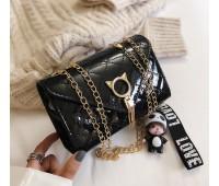Глянцевий сумка із застібкою у вигляді кота чорна