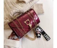 Глянцевий сумка із застібкою у вигляді кота бордова