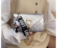 Глянцевий сумка із застібкою у вигляді кота срібло
