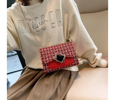Женская элегантная сумка с ткани красная