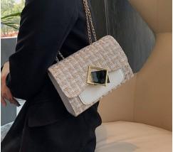 Жіноча елегантна сумка з тканини бежева