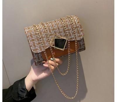 Женская элегантная сумка с ткани коричневая