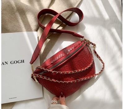 Женская сумка-бананка красная