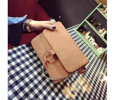 Матовая сумка клатч коричневая