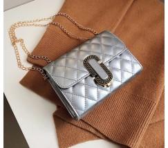 Женская маленькая сумка в стиле Marc Jacobs серебристая