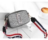 Жіноча міні сумочка Marc Jacobs срібляста з блискітками (копія)