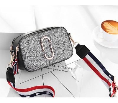 Женская мини сумочка Marc Jacobs серебристая с блестками (копия)