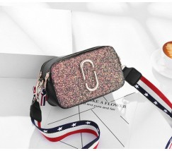 Женская мини сумочка Marc Jacobs розовая с блестками (копия)
